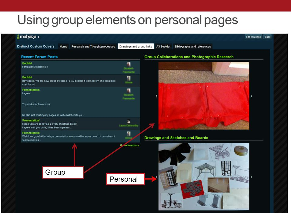 Using group elements on personal pages Personal Group