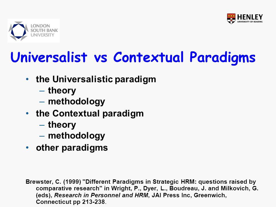 Universalist vs Contextual Paradigms the Universalistic paradigm –theory –methodology the Contextual paradigm –theory –methodology other paradigms Brewster, C.