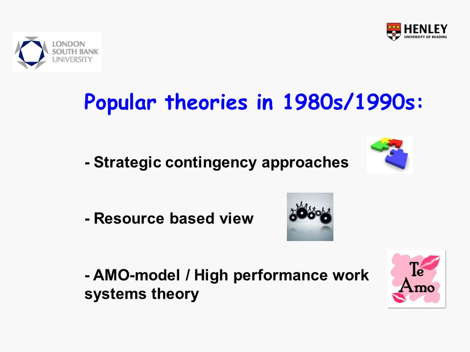 Popular theories in 1980s/1990s: - Strategic contingency approaches - Resource based view - AMO-model / High performance work systems theory