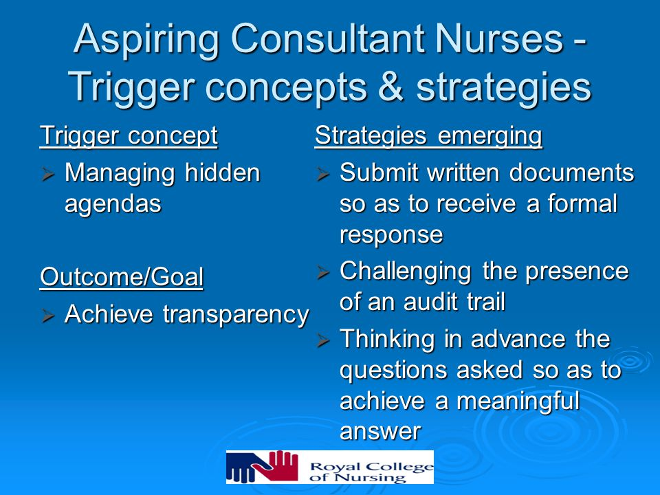 Aspiring Consultant Nurses - Trigger concepts & strategies Trigger concept  Managing hidden agendas Outcome/Goal  Achieve transparency Strategies em