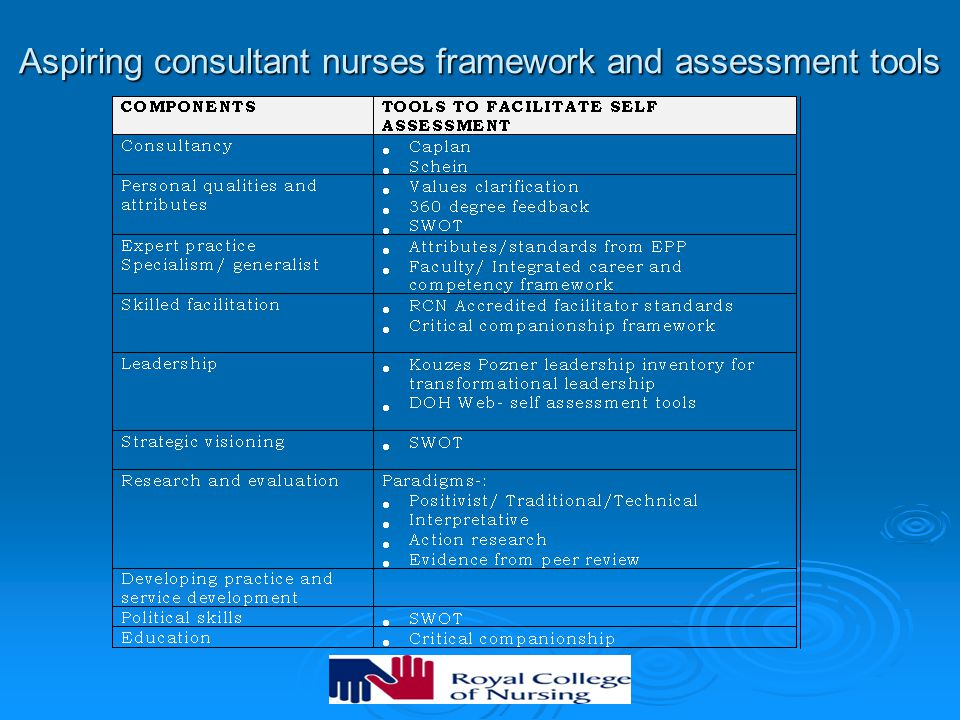 Aspiring consultant nurses framework and assessment tools
