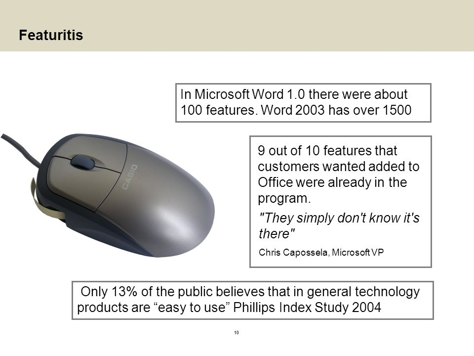10 Featuritis In Microsoft Word 1.0 there were about 100 features. Word 2003 has over 1500 Only 13% of the public believes that in general technology