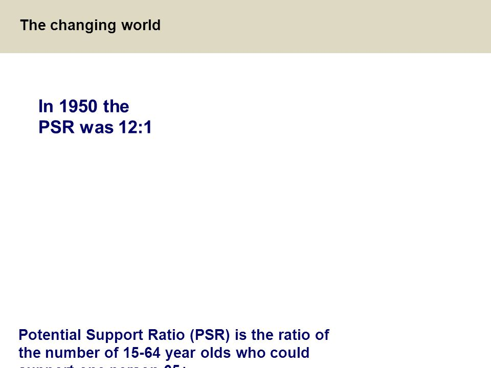 13 The changing world Potential Support Ratio (PSR) is the ratio of the number of 15-64 year olds who could support one person 65+ In 1950 the PSR was