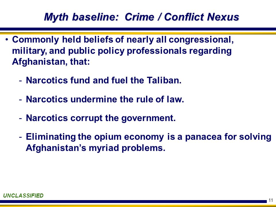 11 Myth baseline: Crime / Conflict Nexus UNCLASSIFIED Commonly held beliefs of nearly all congressional, military, and public policy professionals regarding Afghanistan, that: -Narcotics fund and fuel the Taliban.