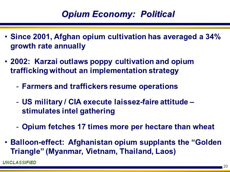 20 Opium Economy: Political UNCLASSIFIED Since 2001, Afghan opium cultivation has averaged a 34% growth rate annually 2002: Karzai outlaws poppy cultivation and opium trafficking without an implementation strategy -Farmers and traffickers resume operations -US military / CIA execute laissez-faire attitude – stimulates intel gathering -Opium fetches 17 times more per hectare than wheat Balloon-effect: Afghanistan opium supplants the Golden Triangle (Myanmar, Vietnam, Thailand, Laos)