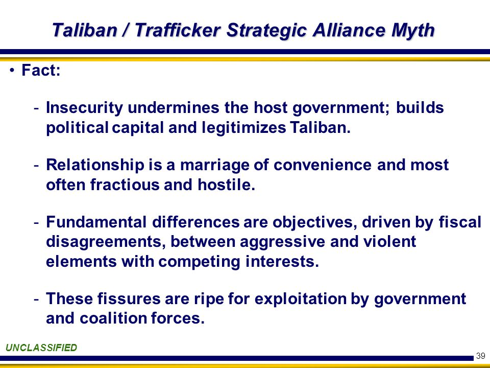 39 Taliban / Trafficker Strategic Alliance Myth UNCLASSIFIED Fact: -Insecurity undermines the host government; builds political capital and legitimizes Taliban.
