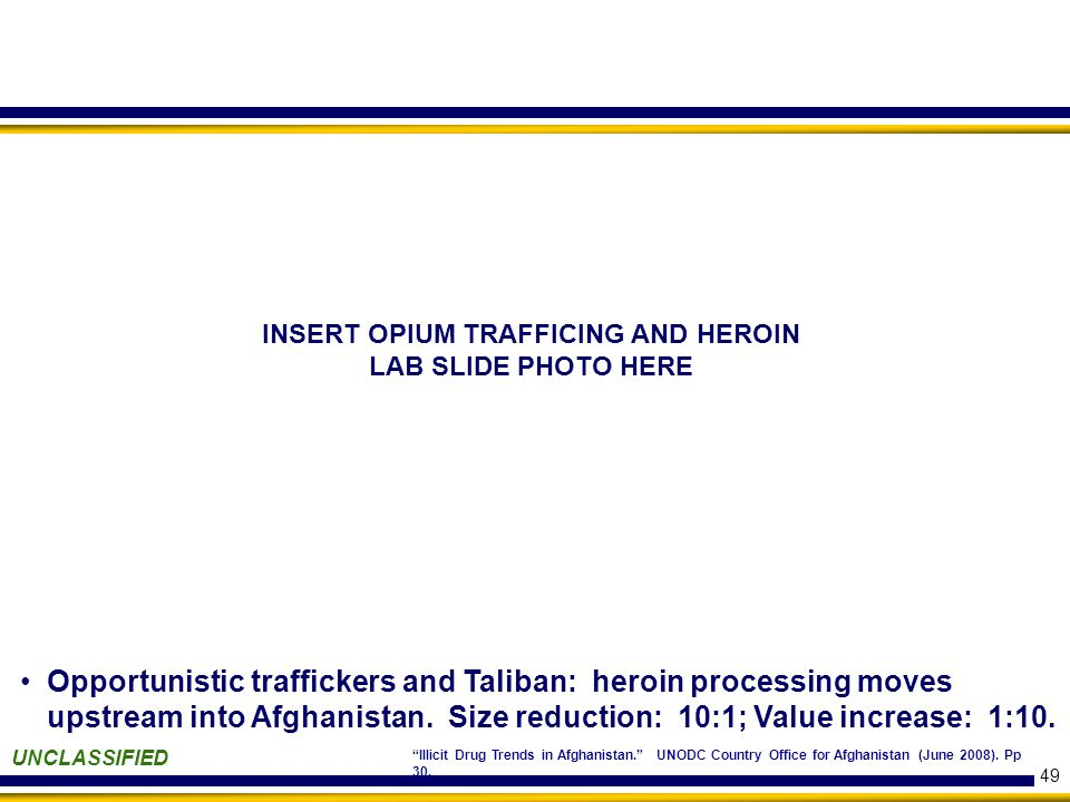 49 UNCLASSIFIED Illicit Drug Trends in Afghanistan. UNODC Country Office for Afghanistan (June 2008).