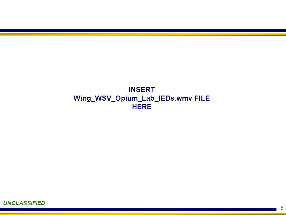 5 UNCLASSIFIED INSERT Wing_WSV_Opium_Lab_IEDs.wmv FILE HERE
