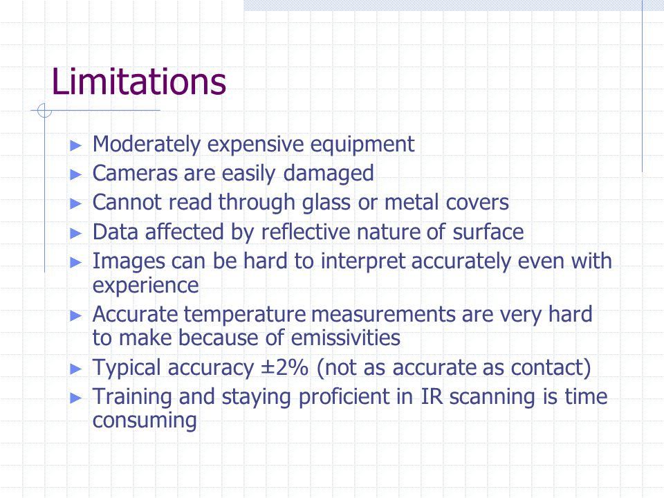 Limitations ► Moderately expensive equipment ► Cameras are easily damaged ► Cannot read through glass or metal covers ► Data affected by reflective na