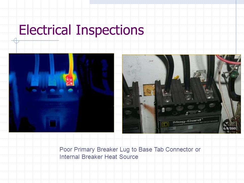 Electrical Inspections Poor Primary Breaker Lug to Base Tab Connector or Internal Breaker Heat Source