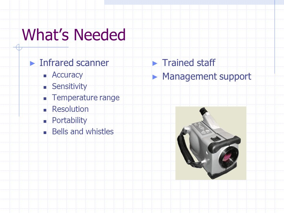 What's Needed ► Infrared scanner Accuracy Sensitivity Temperature range Resolution Portability Bells and whistles ► Trained staff ► Management support