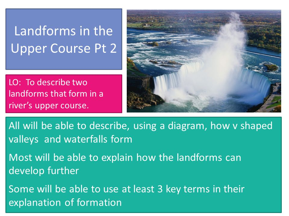 Landforms in the Upper Course Pt 2 All will be able to describe, using a diagram, how v shaped valleys and waterfalls form Most will be able to explain how the landforms can develop further Some will be able to use at least 3 key terms in their explanation of formation LO: To describe two landforms that form in a river's upper course.