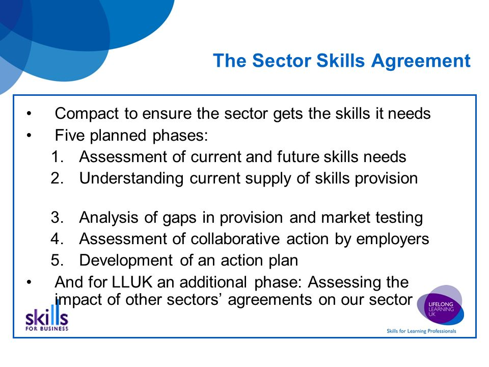 The Sector Skills Agreement Compact to ensure the sector gets the skills it needs Five planned phases: 1.Assessment of current and future skills needs 2.Understanding current supply of skills provision 3.Analysis of gaps in provision and market testing 4.Assessment of collaborative action by employers 5.Development of an action plan And for LLUK an additional phase: Assessing the impact of other sectors' agreements on our sector