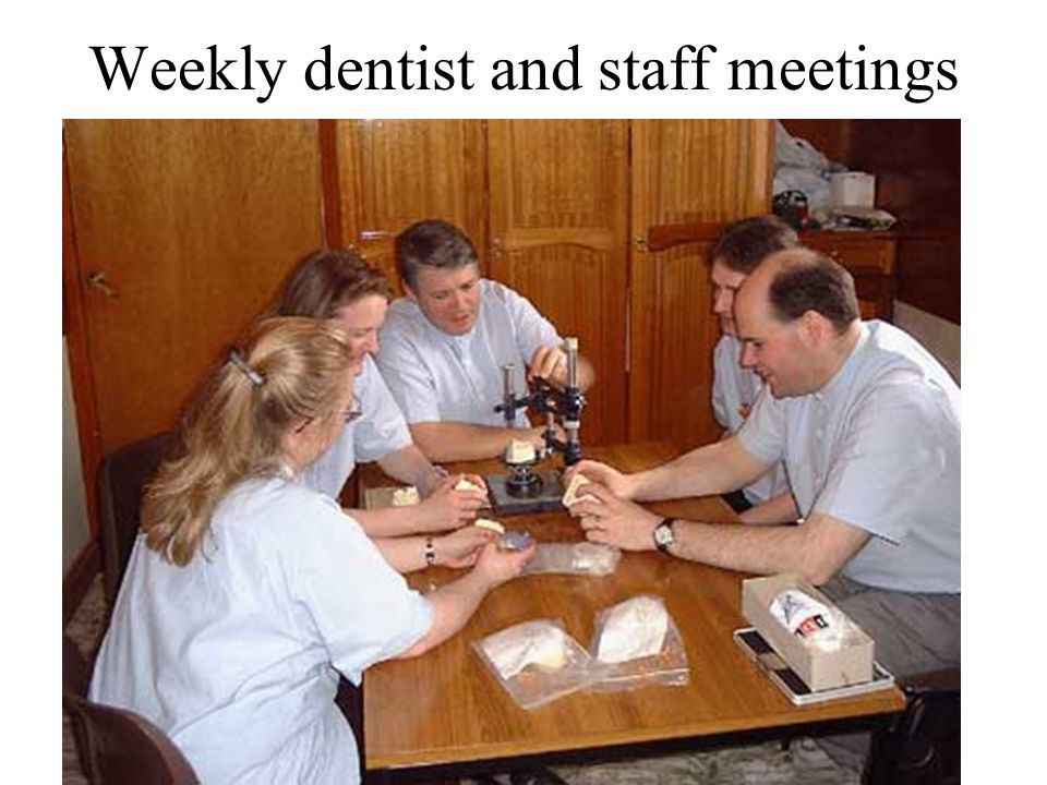 Weekly dentist and staff meetings
