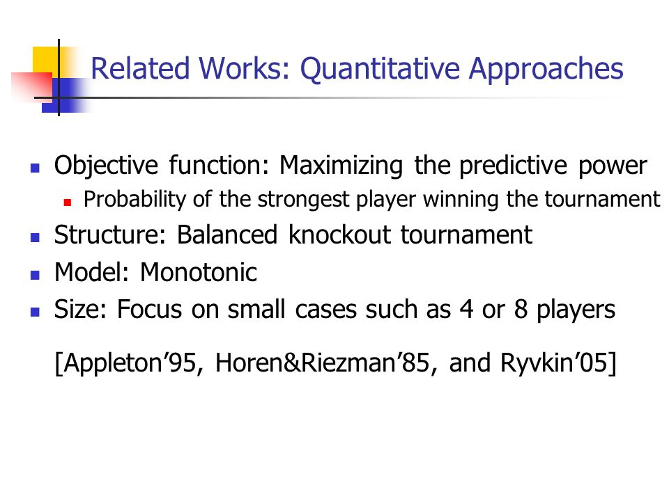 Related Works: Quantitative Approaches Objective function: Maximizing the predictive power Probability of the strongest player winning the tournament Structure: Balanced knockout tournament Model: Monotonic Size: Focus on small cases such as 4 or 8 players [Appleton'95, Horen&Riezman'85, and Ryvkin'05]