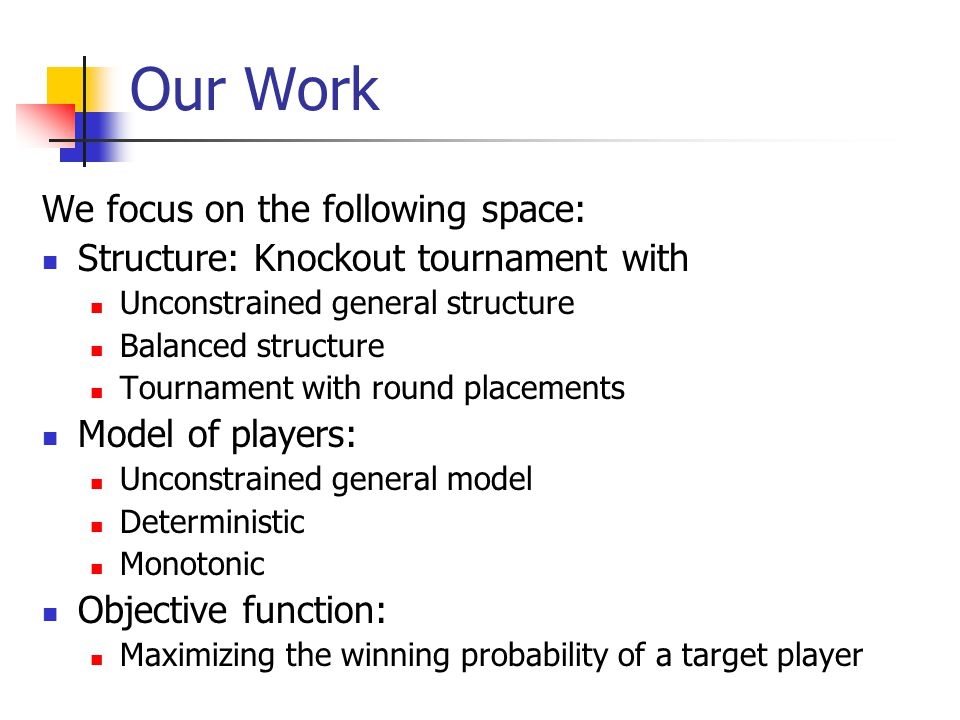 Our Work We focus on the following space: Structure: Knockout tournament with Unconstrained general structure Balanced structure Tournament with round placements Model of players: Unconstrained general model Deterministic Monotonic Objective function: Maximizing the winning probability of a target player