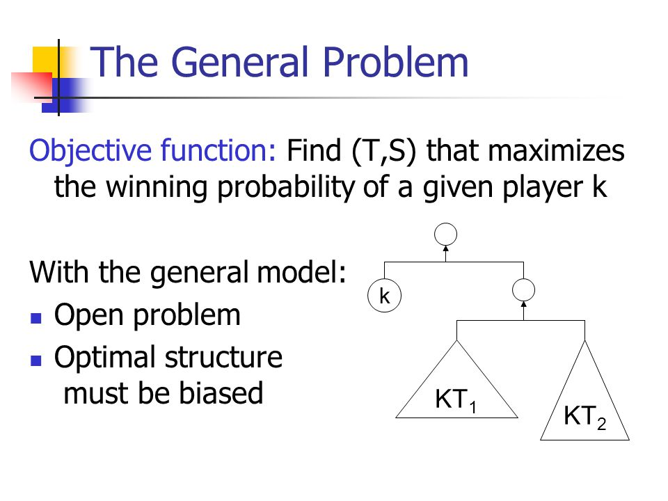 The General Problem Objective function: Find (T,S) that maximizes the winning probability of a given player k With the general model: Open problem Optimal structure must be biased k KT 1 KT 2