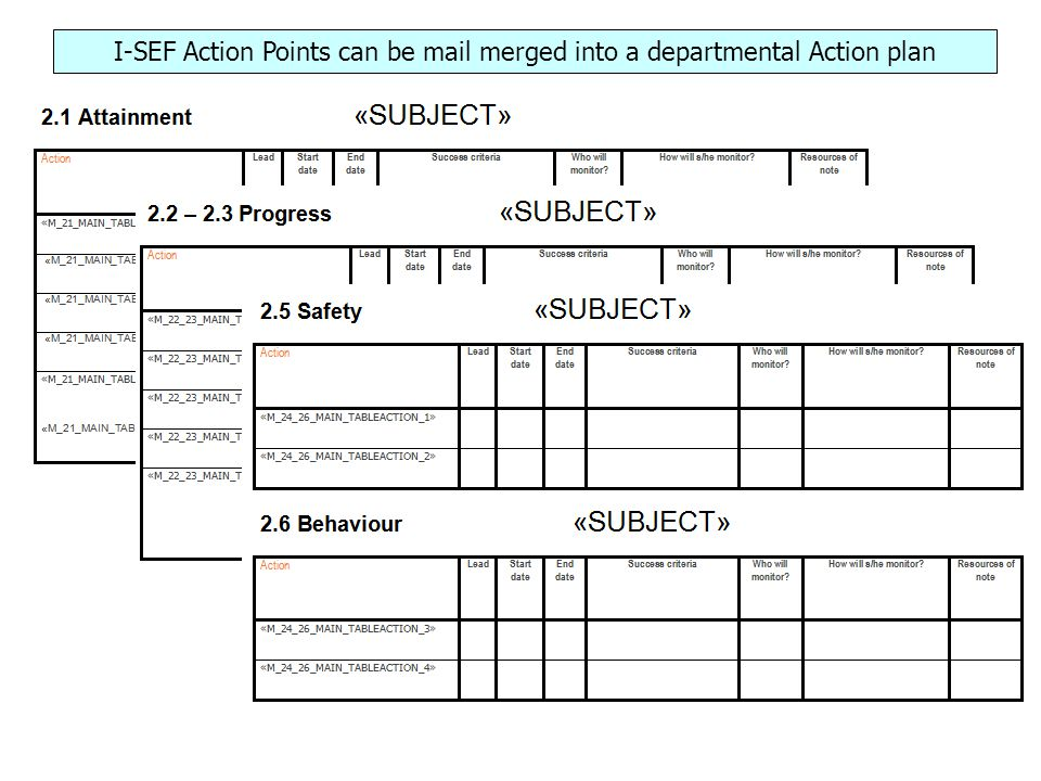 I-SEF Action Points can be mail merged into a departmental Action plan