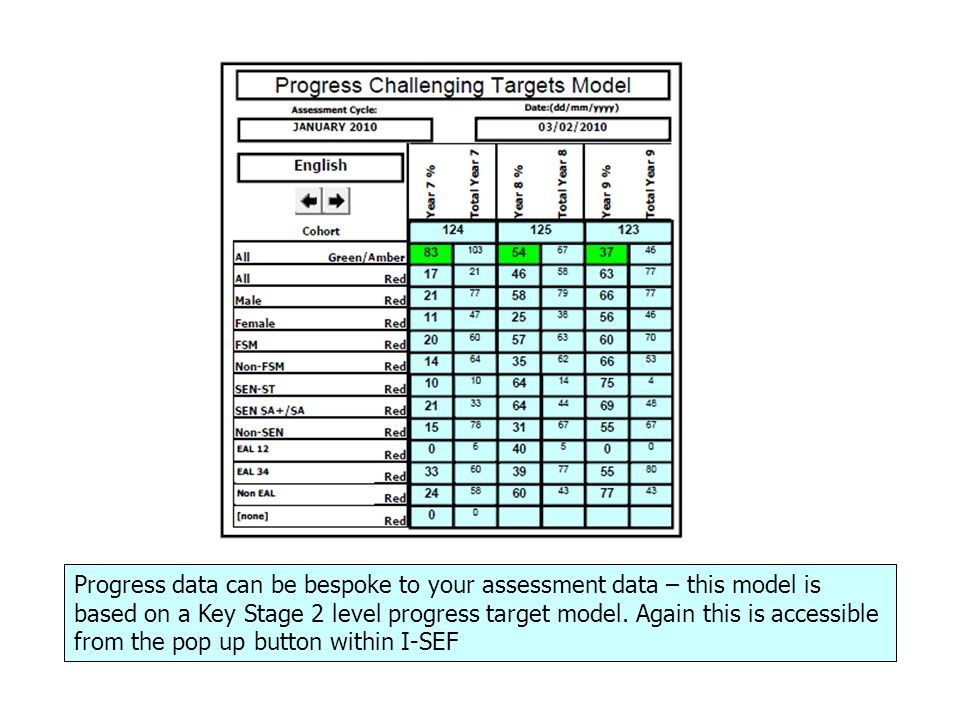 Progress data can be bespoke to your assessment data – this model is based on a Key Stage 2 level progress target model.
