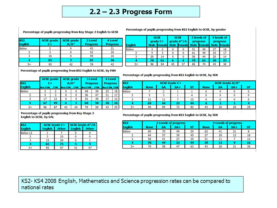 KS2- KS4 2008 English, Mathematics and Science progression rates can be compared to national rates 2.2 – 2.3 Progress Form