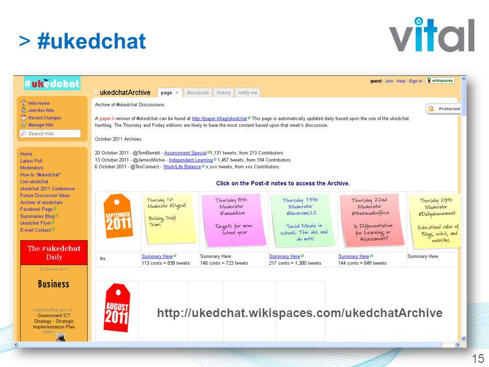 15 http://ukedchat.wikispaces.com/ukedchatArchive >#ukedchat
