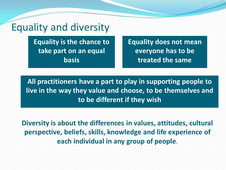 Equality and diversity Equality does not mean everyone has to be treated the same All practitioners have a part to play in supporting people to live i