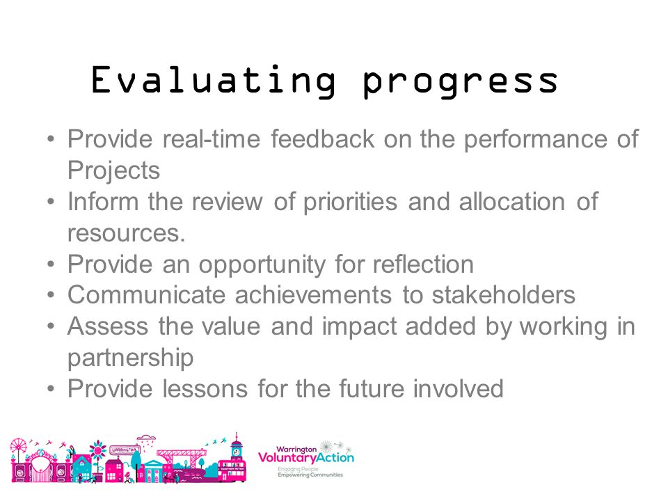 Evaluating progress Provide real-time feedback on the performance of Projects Inform the review of priorities and allocation of resources.