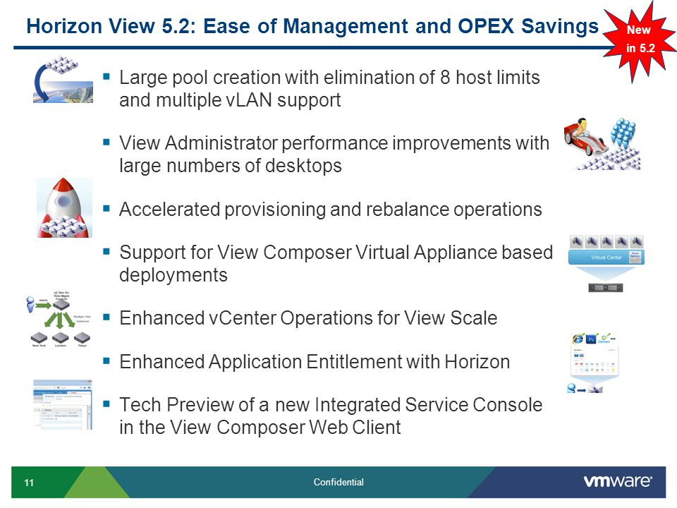 11 Confidential Horizon View 5.2: Ease of Management and OPEX Savings  Large pool creation with elimination of 8 host limits and multiple vLAN support  View Administrator performance improvements with large numbers of desktops  Accelerated provisioning and rebalance operations  Support for View Composer Virtual Appliance based deployments  Enhanced vCenter Operations for View Scale  Enhanced Application Entitlement with Horizon  Tech Preview of a new Integrated Service Console in the View Composer Web Client New in 5.2