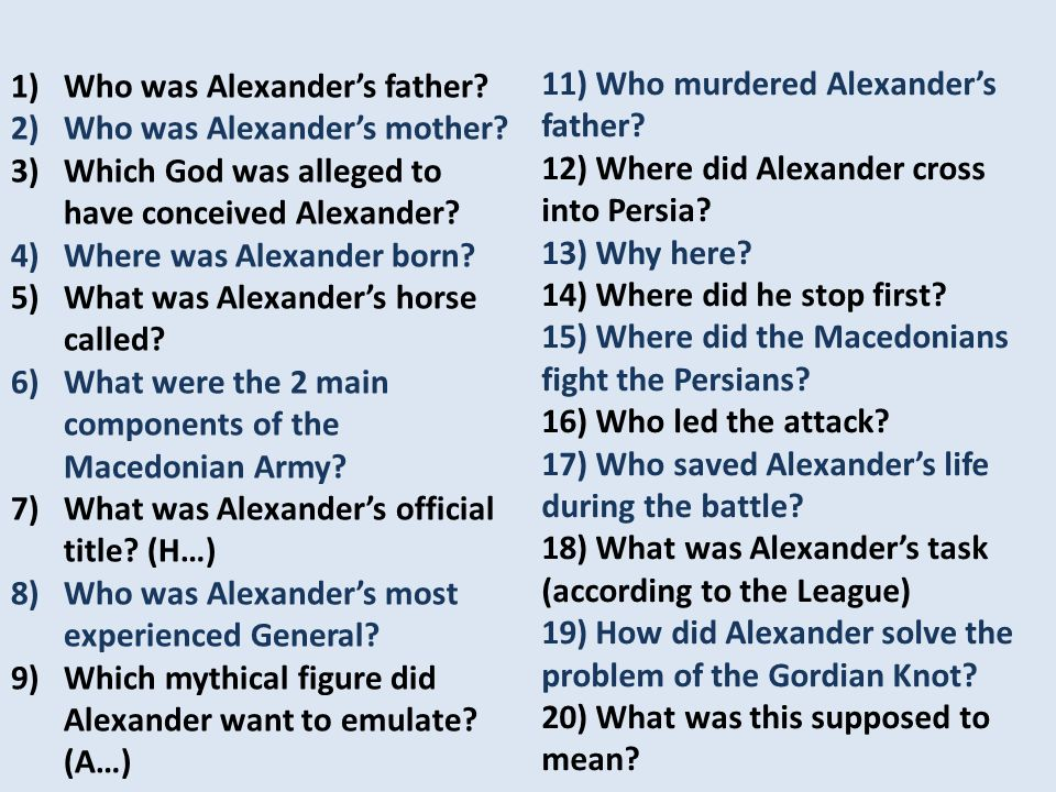 1)Who was Alexander's father. 2)Who was Alexander's mother.