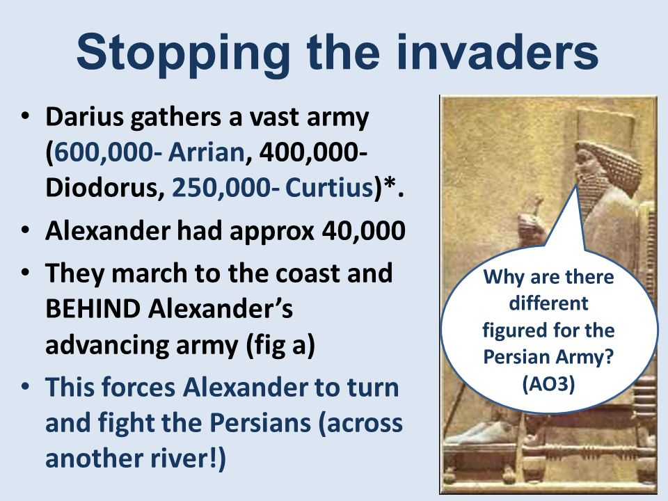 Stopping the invaders Darius gathers a vast army (600,000- Arrian, 400,000- Diodorus, 250,000- Curtius)*.