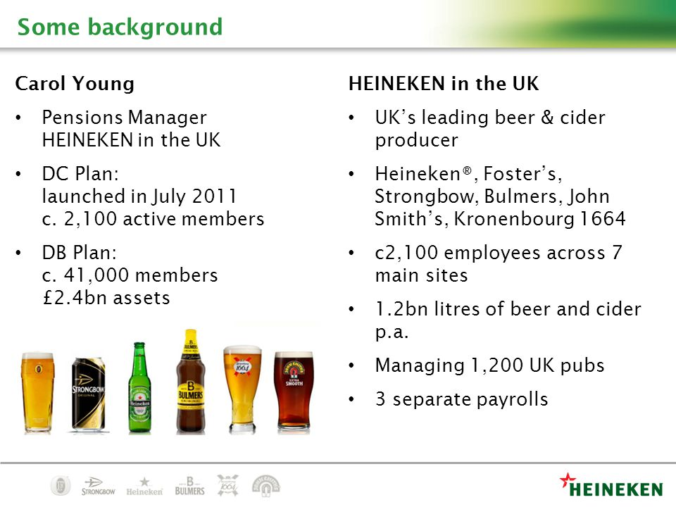Carol Young Pensions Manager HEINEKEN in the UK DC Plan: launched in July 2011 c.
