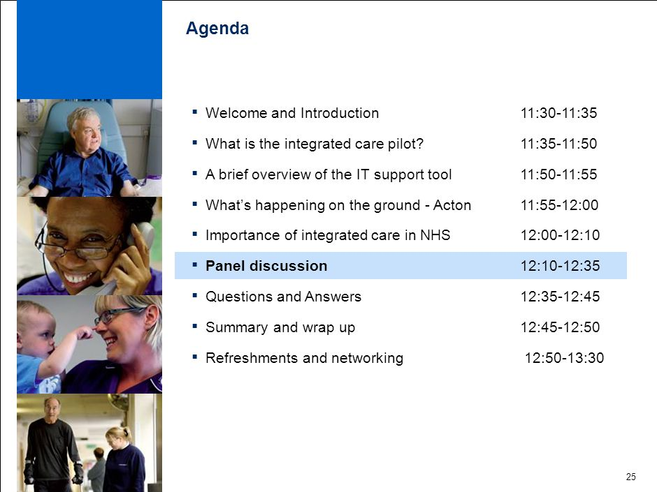 25 Agenda ▪ Welcome and Introduction 11:30-11:35 ▪ What is the integrated care pilot.