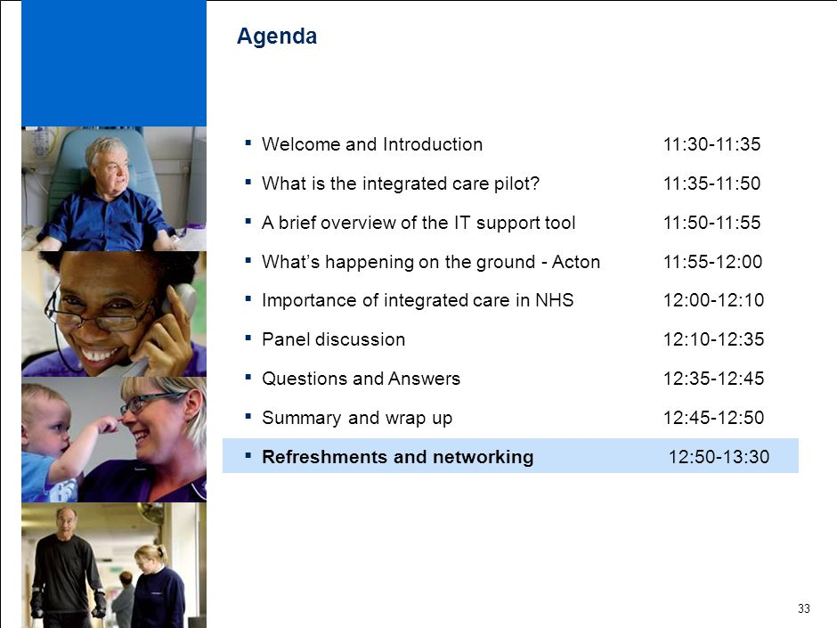 33 Agenda ▪ Welcome and Introduction 11:30-11:35 ▪ What is the integrated care pilot.