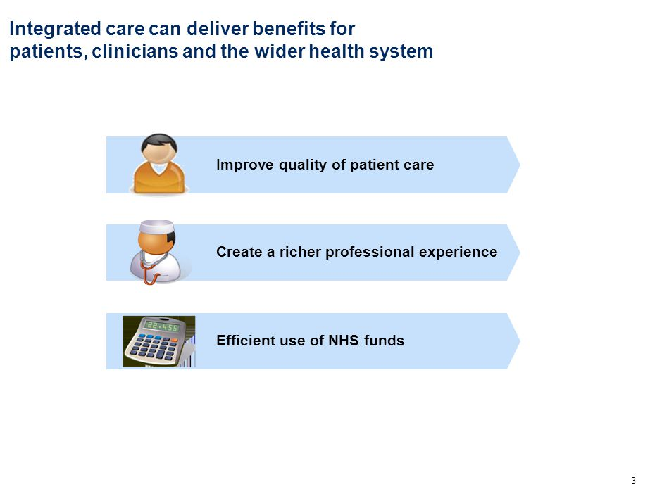3 Improve quality of patient care Create a richer professional experience Efficient use of NHS funds Integrated care can deliver benefits for patients, clinicians and the wider health system