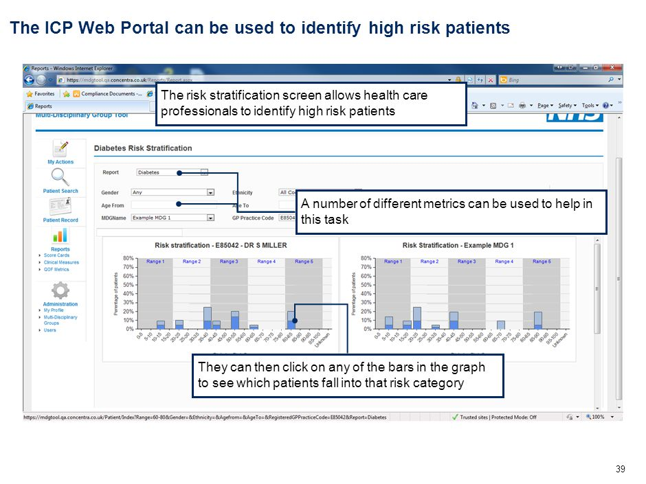 39 The ICP Web Portal can be used to identify high risk patients The risk stratification screen allows health care professionals to identify high risk patients They can then click on any of the bars in the graph to see which patients fall into that risk category A number of different metrics can be used to help in this task
