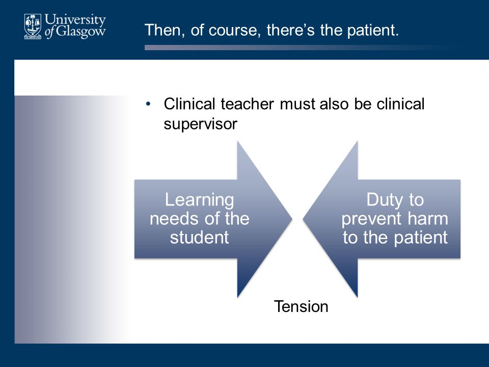 Then, of course, there's the patient. Clinical teacher must also be clinical supervisor Learning needs of the student Duty to prevent harm to the pati
