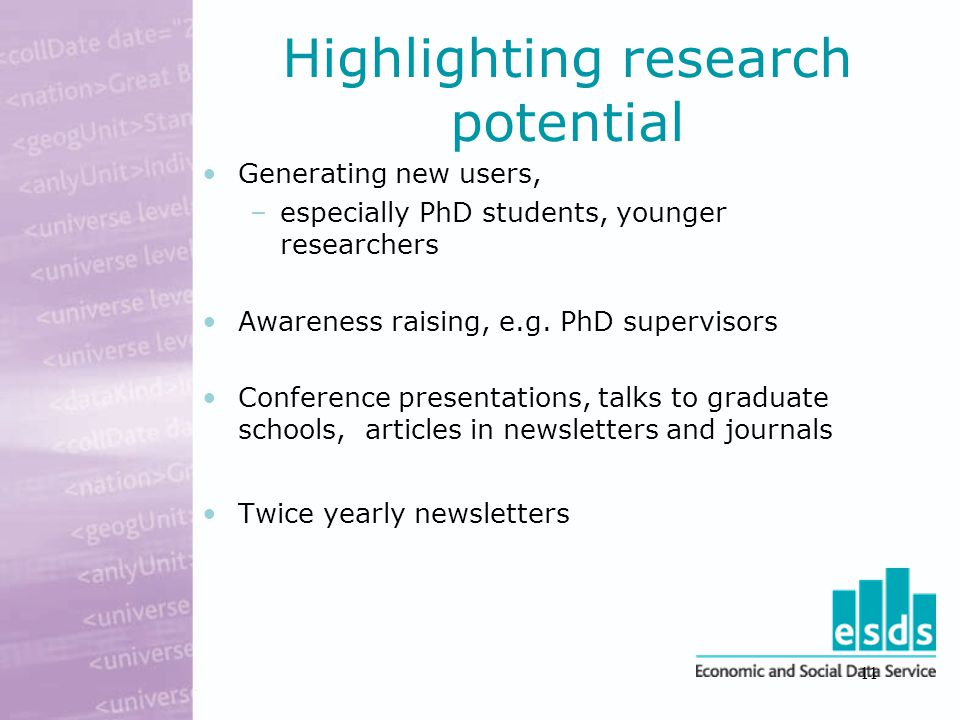 11 Highlighting research potential Generating new users, –especially PhD students, younger researchers Awareness raising, e.g.