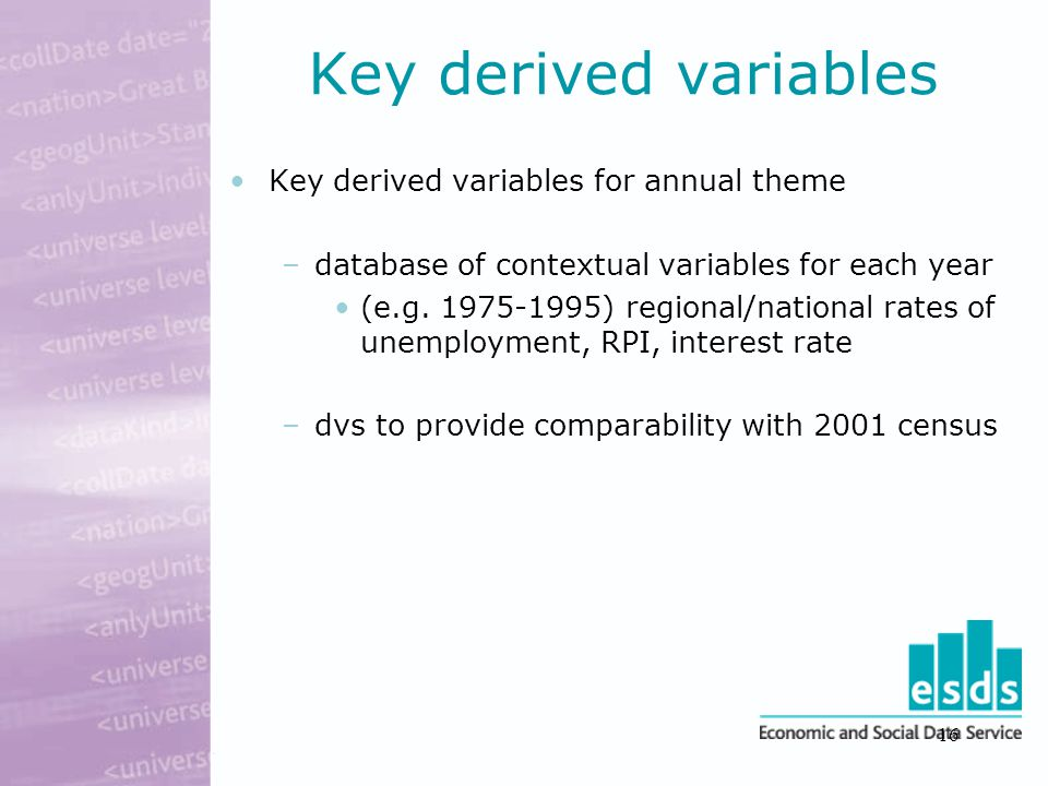 16 Key derived variables Key derived variables for annual theme –database of contextual variables for each year (e.g.
