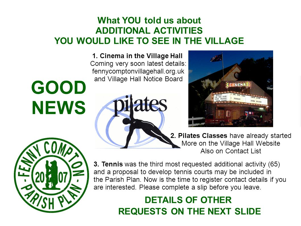What YOU told us about ADDITIONAL ACTIVITIES YOU WOULD LIKE TO SEE IN THE VILLAGE GOOD NEWS 1.