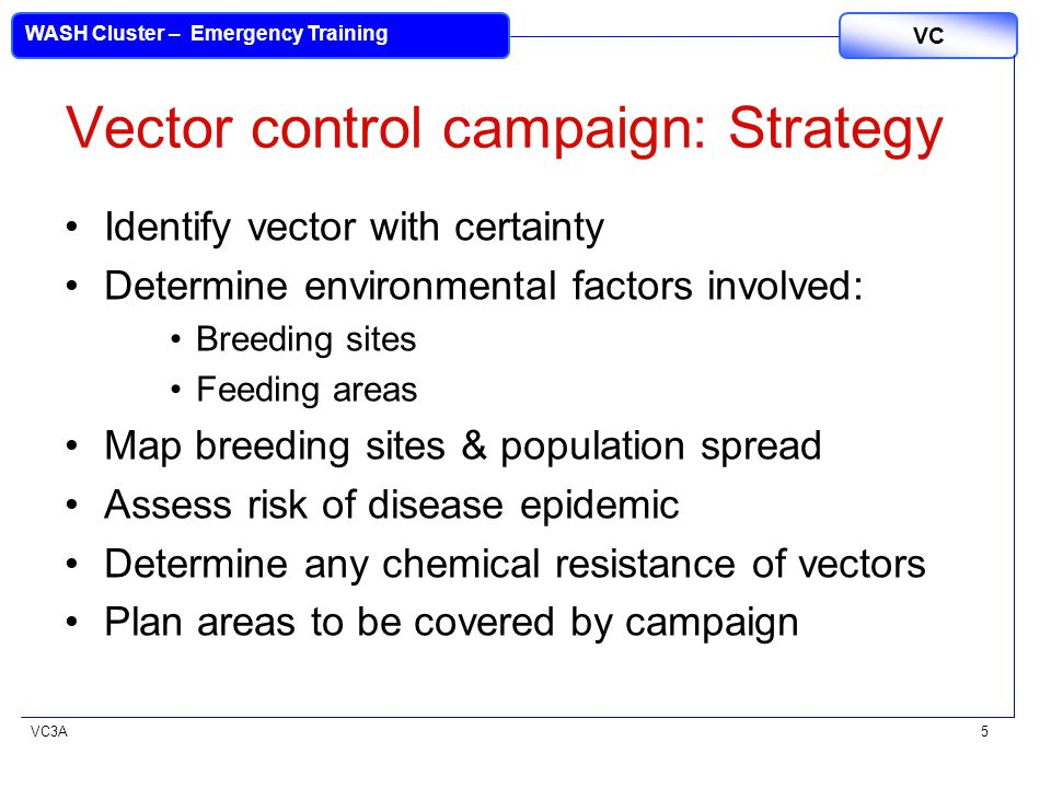 VC3A VC WASH Cluster – Emergency Training 5 Vector control campaign: Strategy Identify vector with certainty Determine environmental factors involved: Breeding sites Feeding areas Map breeding sites & population spread Assess risk of disease epidemic Determine any chemical resistance of vectors Plan areas to be covered by campaign