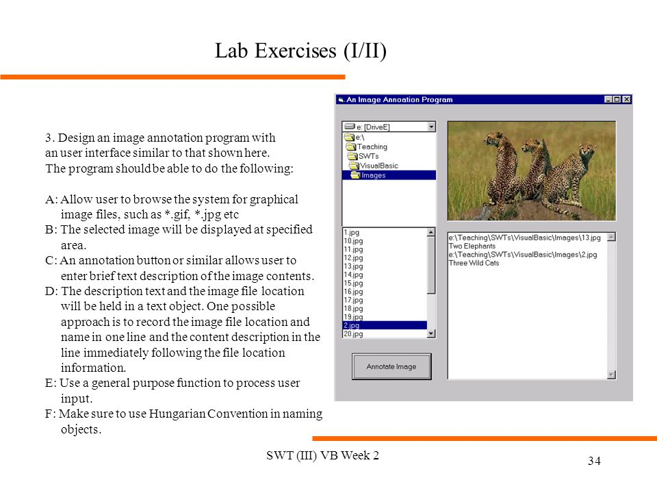 SWT (III) VB Week 2 34 Lab Exercises (I/II) 3. Design an image annotation program with an user interface similar to that shown here. The program shoul