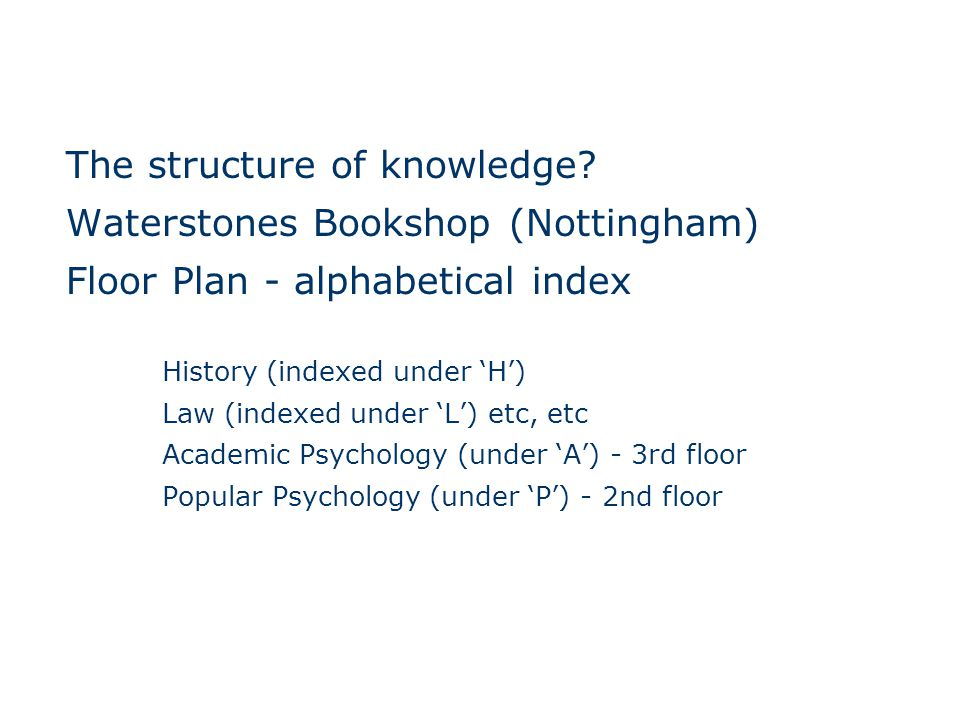 The structure of knowledge.
