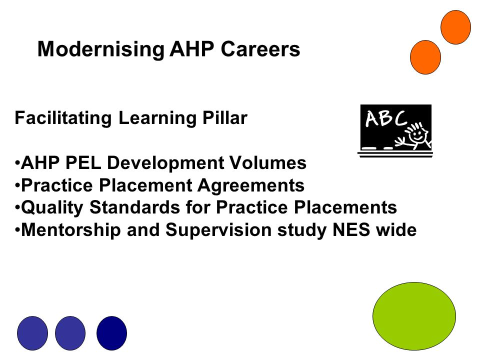 Modernising AHP Careers Facilitating Learning Pillar AHP PEL Development Volumes Practice Placement Agreements Quality Standards for Practice Placemen