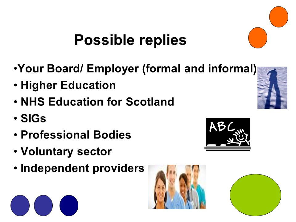 Possible replies Your Board/ Employer (formal and informal) Higher Education NHS Education for Scotland SIGs Professional Bodies Voluntary sector Inde