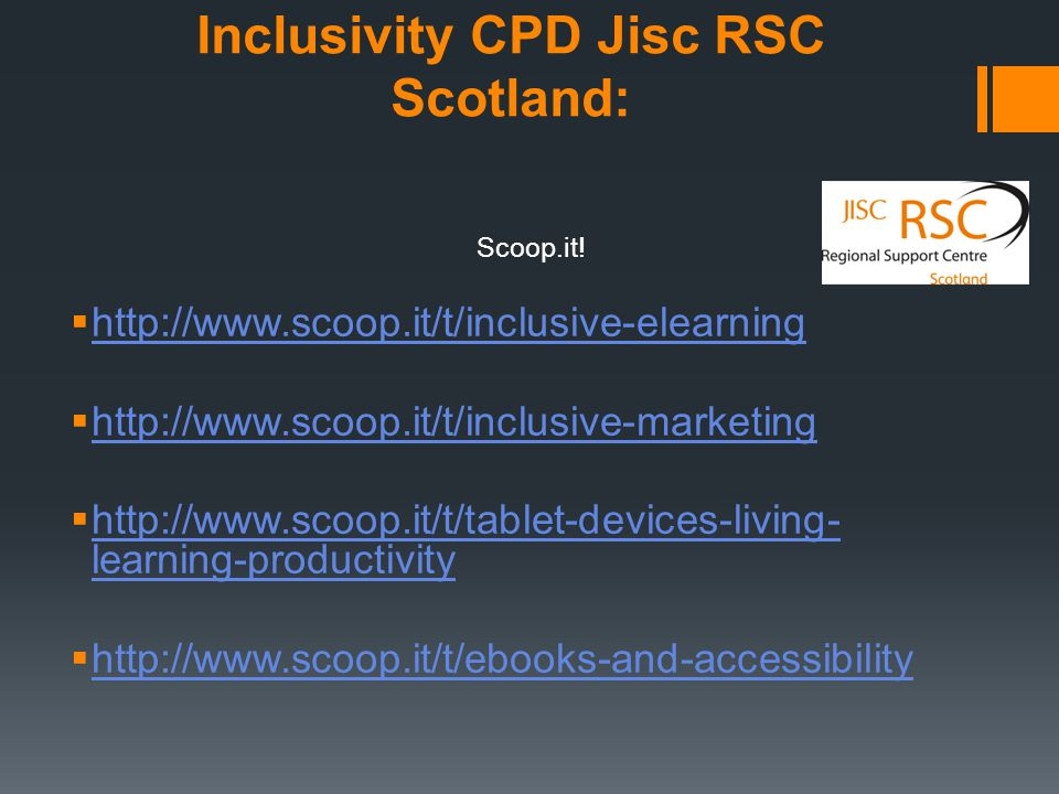 Inclusivity CPD Jisc RSC Scotland: Scoop.it.