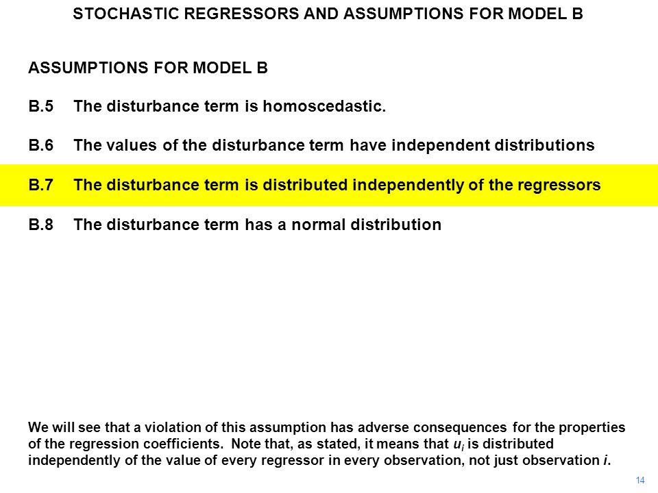 We will see that a violation of this assumption has adverse consequences for the properties of the regression coefficients. Note that, as stated, it m