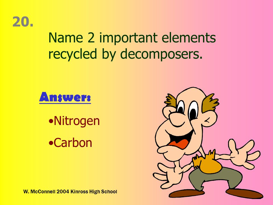 W. McConnell 2004 Kinross High School 20. Name 2 important elements recycled by decomposers.