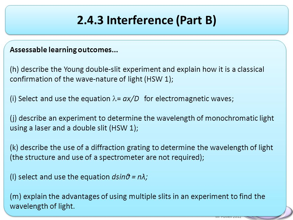 Mr Powell 2012 Index Interference (Part B) Assessable learning outcomes...