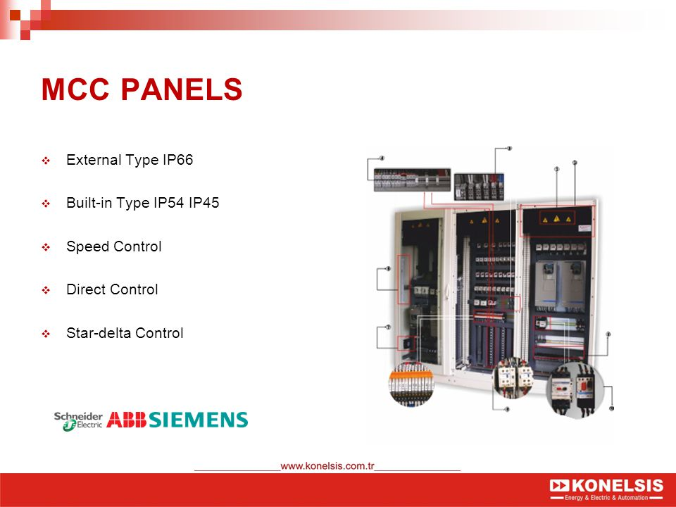 MCC PANELS  External Type IP66  Built-in Type IP54 IP45  Speed Control  Direct Control  Star-delta Control