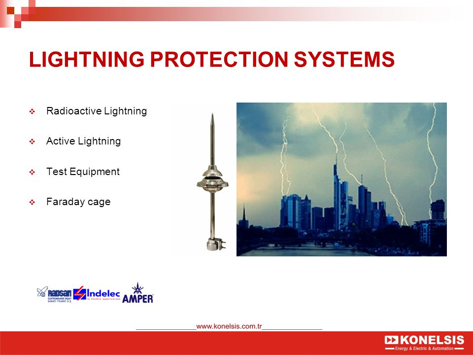 LIGHTNING PROTECTION SYSTEMS  Radioactive Lightning  Active Lightning  Test Equipment  Faraday cage